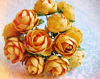 Saffron yellow Garden Roses Vintage style Millinery Flower Bouquet - for decorating, gift wrapping, weddings, party supply, holiday