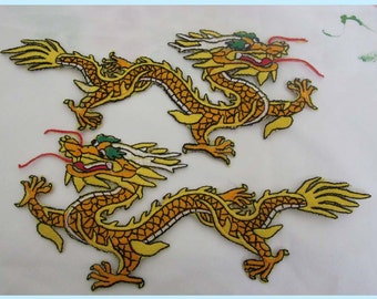 Two Large Embroidered  Dragon Iron On Patches Free Shipping You Can Pick Your color