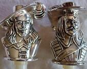 Vintage Barware for him, Set of 2 Bottle Silverplate Stopper Corks for Liquor Glass Decanter, Wine or Port, Silver Metalware Stopper
