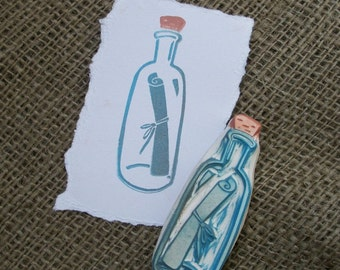 Message in a Bottle Rubber Stamp Hand Carved