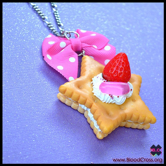 Whipped Cream Strawberry Cookie Necklace - RESERVED