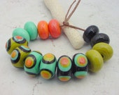 Lampwork Beads - Handmade Glass Beads - Colorful Dots