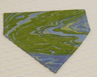 Dog Bandana in Blue & Green with Shiny Gold Pin Dots in Collar Style XS to XL