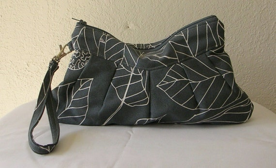 Wristlet  wallet / Zipper Clutch Pouch Ikea Stockholm Blad in Gray