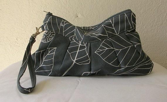 Wristlet  wallet / Zipper Clutch Pouch Ikea Stockholm Blad in Gray