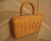 Vintage 1950s Vinyl Covered Straw Wicker Double Handled Basket Style Pocketbook Purse Woven X's