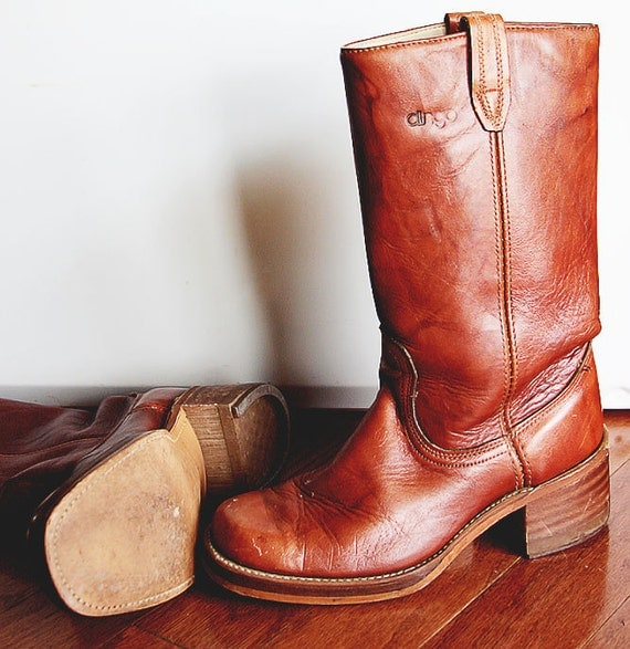 Vintage Brown Leather Campus Boots Womens 9, Mens 8 D Boho Style