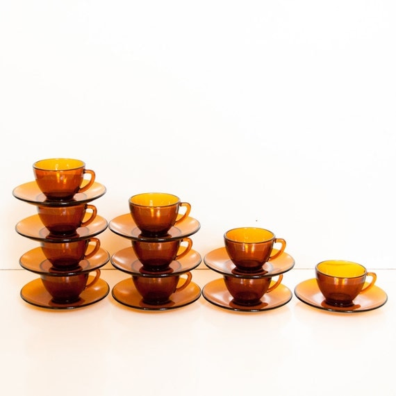 Set of 10 Adorable Midcentury Amber Glass Tea Cups and Saucers