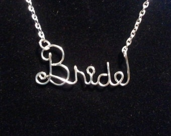 Silver Wire BRIDE Necklace
