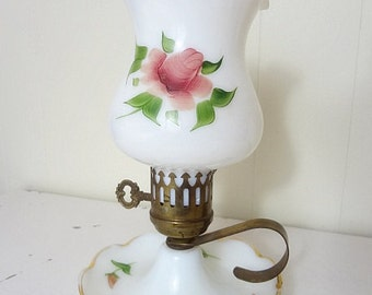 Vintage Shabby Chic Painted Roses Milk Glass Finger Loop Electric Lamp