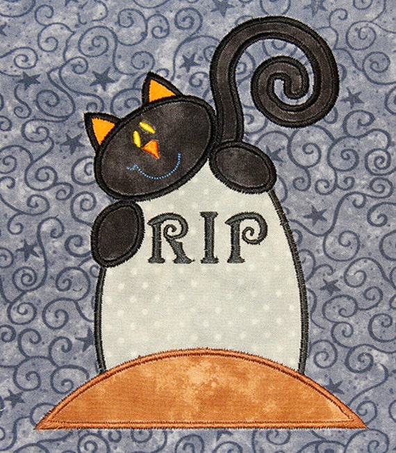 cat and tombstone -applique 5x7 hoop- size perfect for halloween- FUN