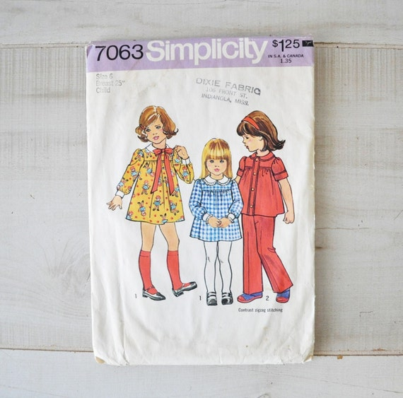 vintage 1970s simplicity pattern 7063--childs dress, top and pants