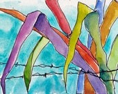 Art Watercolor Painting Tropical Leaves Barbed Wire Garden Beach Caribbean ORIGINAL