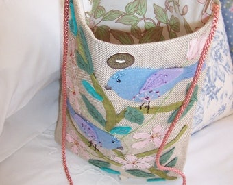FABRIC ART    a Unique Handmade Purse / Bag  decorated with felt Flowers and Birds with added beads