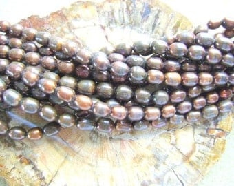 PEARLS, NATURAL, RICE  Shape, Long Drill, 16 Inch, Chocolate, Bronze, 7x6mm