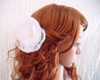 Bridal Flower Hair Clip, alligator clip white wedding flower, Wedding Hair Accessory, brides hair piece, organza and satin faced taffeta