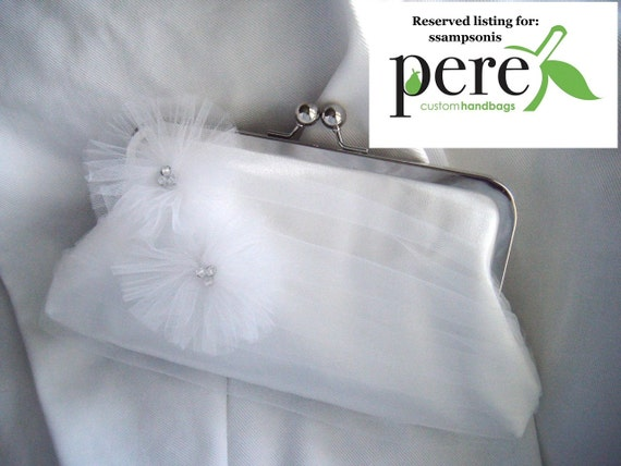 RESERVED LISTING For ssampsonis - White Tulle and Satin Clutch - Something Blue Lining - Fairytale Bridal Clutch - Midnight Crush Elite Size