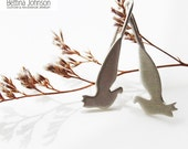 Dove Bird Pigeons Earring Sterling Silver Handmade Matte Finish Hope Peace Promise