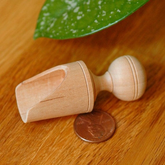 Cute rustic tiny turned wood sugar, salt, or spice scoop great for your sugar bowl