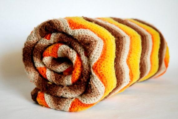 Vintage Housewares - Autumn Chevron Lap Blanket - Handmade Crochet