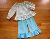 READY to SHIP - Girls Corduroy Ruffle Pants in Turquoise - size 4T