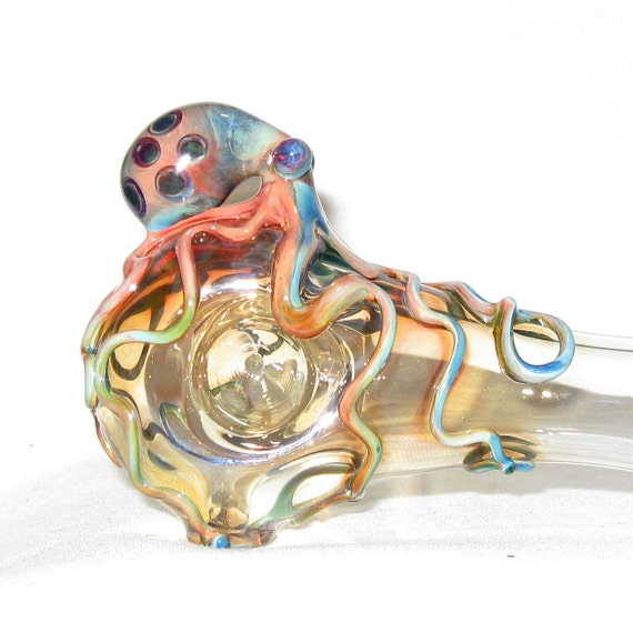 Octopus Spoon Large Heavy Thick Wall Fumed Color Changing Hand Blown Glass