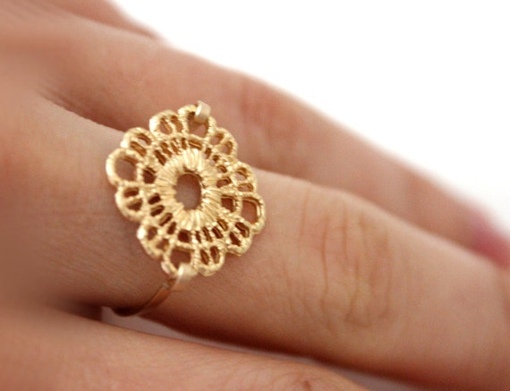 Lace gold ring 14kt gold filled base - custom size