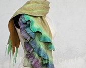 Lagenlook Scarf.Nuno Felted Scarf .Hand dyed.Handmade wool and silk scarf.