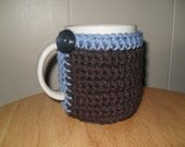 crocheted mug cozy cup cozy in chocolate brown and antique teal