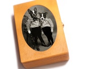 NEW 4X6 wooden jewelry box with Josua and James the Boston Terriers