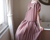 1970s sheer beige midi dress with pleat skirt // size medium 12