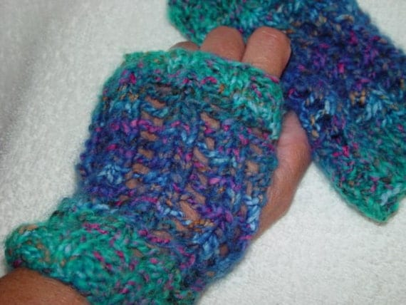 Gloves Fingerless Wristlets Arm Warmers Mitts Wool Blend  Handknit SALE 55% Off