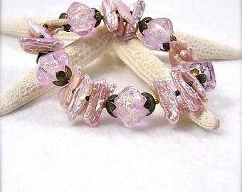 Pearly Pink, Lampwork bracelet, stretch bracelet, Chunky Bracelet, Lampwork beads, organic, biwa stick pearls, By Xanna's Jewelry Box