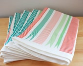 Preppy Party Ribbons Tea Towel in Pink, Red and Green - Linen Cotton blend Tea Towel 18 x 24 inch - wickedmint