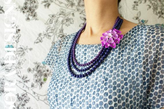flower statement necklace, Jewel Tone purple plum ombre vintage brooch statement necklace - detachable floral brooch