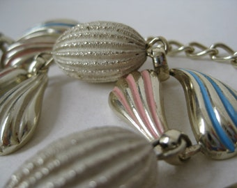 Modern White Pink Blue Necklace Silver Vintage Choker