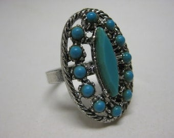 Turquoise Ring Silver Cocktail Vintage Adjustable Blue