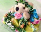 Pink and Blue Christmas Bear Teddy Bear Ornament Gingerbread Rose Hawaii Lei Collectable creativecaldron Wreath