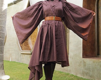 Lotus Bloom...Autumn dress Brown mix silk (one size fit M-XL) (1436)