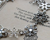 Silver Snowflake Bracelet . Antiqued Silver Filigree Snowflakes with Jewels - First Snow