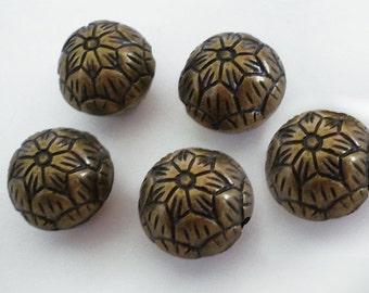 FINAL SALE - 17mm Light Bronze floral etched Acrylic round bead 5pcs