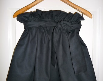 Black Denim Paper Bag SKIRT and SASH - Made in ANY Size - Boutique Mia