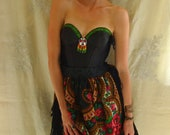 RESERVED Inika Tribal Bustier Dress... size S/M 34B... Eco Friendly Recycled Beaded Tribal Alternative Evening Party Formal Prom