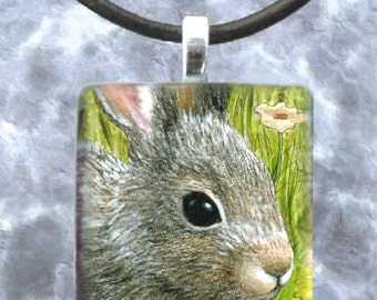 Hare 45 rabbit Handmade Glass Pendant 1x1 Jewelry Necklace from art painting by L.Dumas