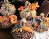 Fall Decor Handmade Pumpkin, Burlap and Orange and Brown Fall  Homespun Fabric, Fall Decoration