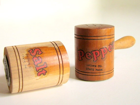 RESERVED FOR SAGE until 8/17Vintage Brown County State Park Souvenir Wood Salt and Pepper Shakers