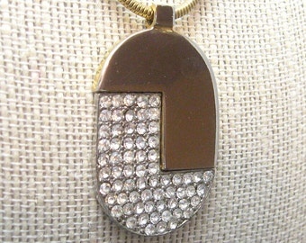 Unique Rhinestone Pendant Necklace Vintage Rhinestone Jewelry N4628