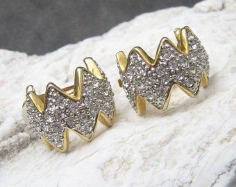 Wide Rhinestone Hoop Earrings Abstract Vintage Jewelry E4642