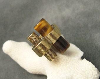 Sterling Modernist Ring Tiger Eye Vintage Studio Jewelry R5516