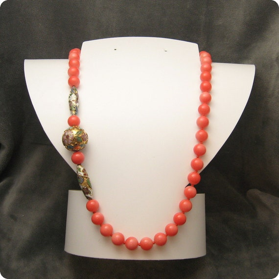 RESERVED Long Coral Glass Bead Necklace Cloisonne N4695